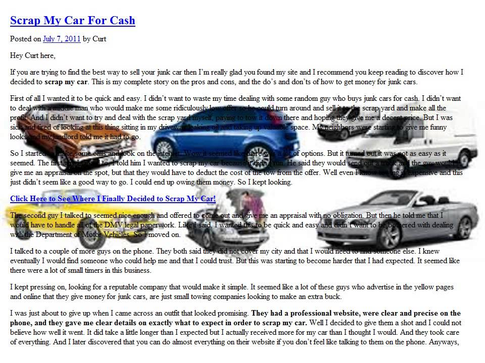 scrap my car for cash part 2 - YouTube