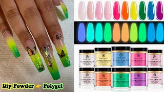 GLOW IN THE DARK OMBRÉ NAILS! TURNING DIP POWDER INTO POLYGEL?! Live Stream