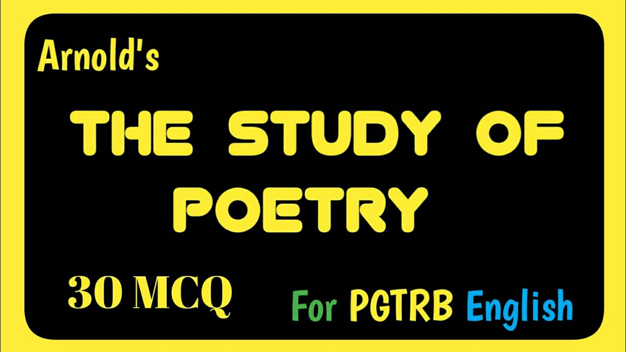 The Study Of Poetry MCQ | PGTRB English Videos