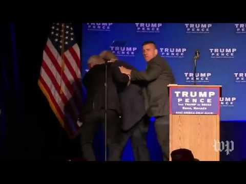 U.S. Secret Service rushed Republican presidential nominee Donald Trump off stage