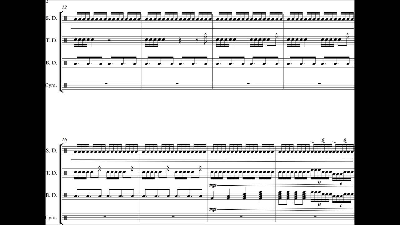 Sandstorm Darude Drumline Cadence Sheet Music Youtube