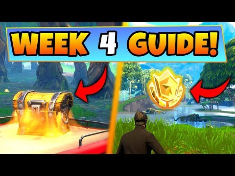 Fortnite WEEK 4 CHALLENGES GUIDE! – WAILING WOODS CHESTS, Treasure Location Battle Royale Season 4
