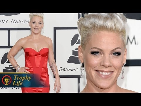 Pink Rocks Red Gown Grammy Awards 2014 Red Carpet