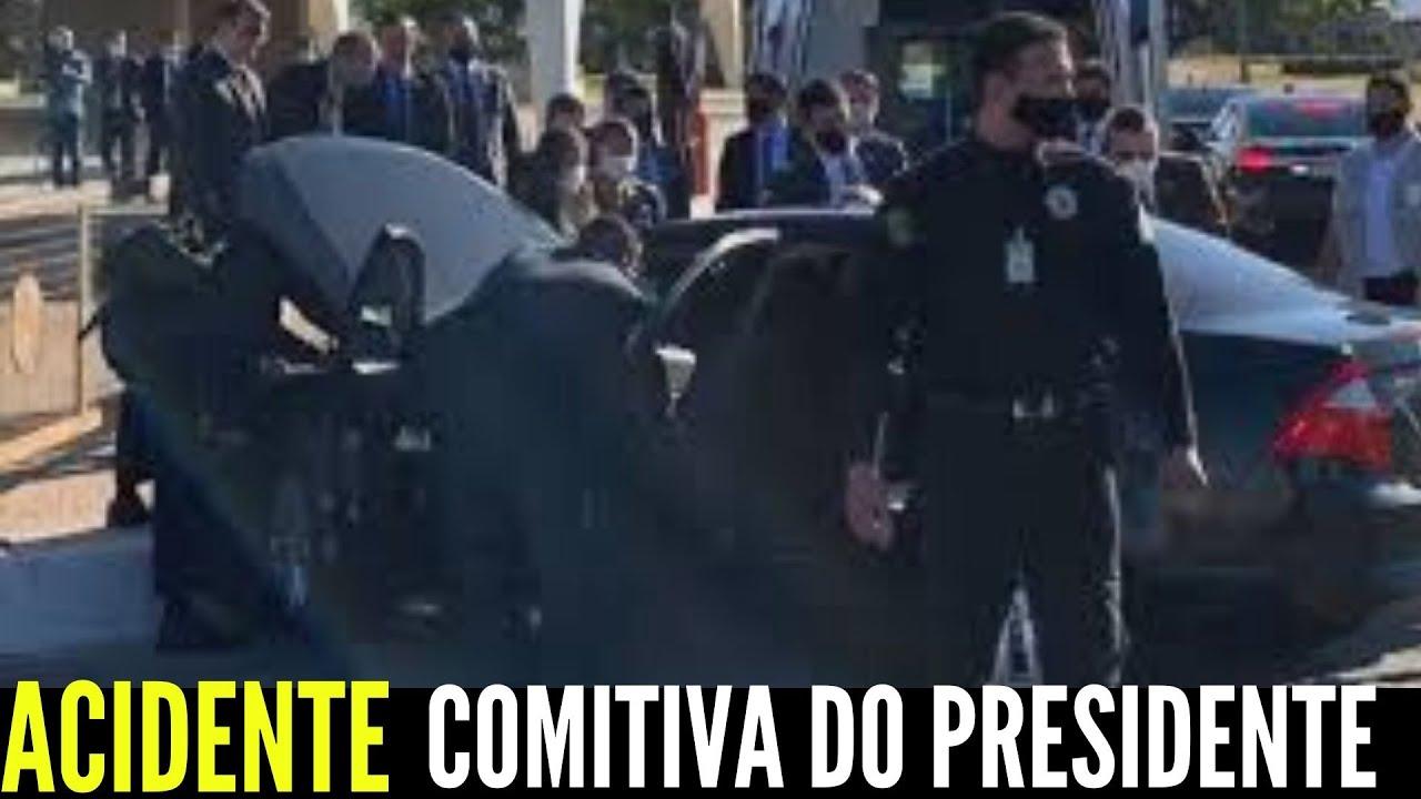 URGENTE CARRO DA COMITIVA DO PRESIDENTE BOLSONARO SOFRE 'MISTERIOSO' ACIDENTE E AGENTE SAI FERIDO