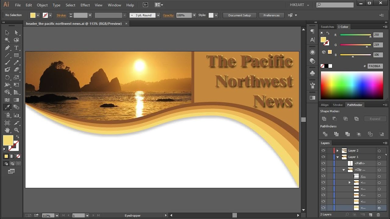 how to create a header in adobe illustrator