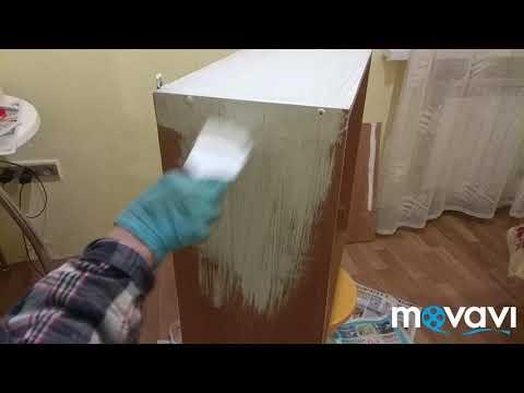 Покраска кухонного шкафчика из дсп 1 этап