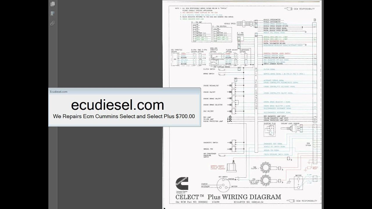 cummins l10 n14 m11 wiring diagram youtube Cummins Celect Wiring -Diagram cummins l10 n14 m11 wiring diagram