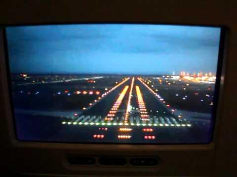 Lufthansa A380-800 landing at Frankfurt inseat video forward camera