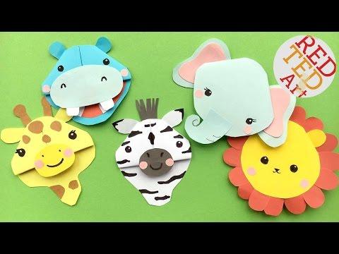 5 Safari Animal Bookmark DIYs - Zebra, Lion, Giraffe, Elephant, Hippo Bookmark Corner DIYs