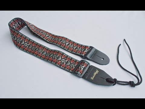 Guitar Strap Black Red Silver Woven Nylon Leather Ends For Acoustic & Electric Made In U.S.A.