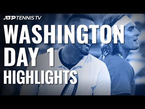 Cabal & Farah defeat Tsitsipas & Kyrgios; Tsonga Wins   Washington 2019 Highlights Day 1
