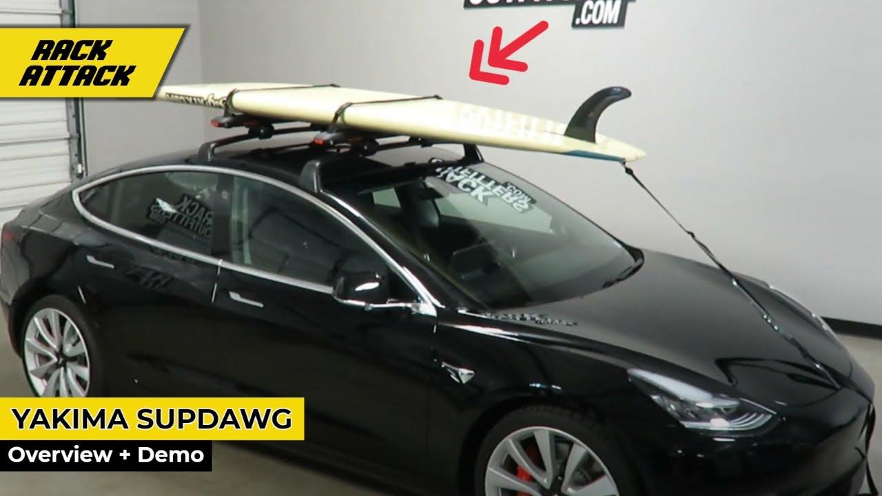 Paddle Board Car Racks >> Yakima Supdawg Paddleboard Rack Overview Demo On Tesla Model 3 Roof Rack