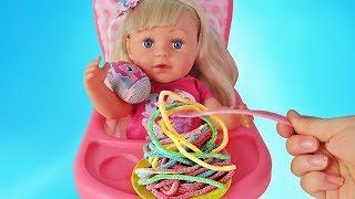 Ляльки Пупсики Бебі Бон Настя їсть сюрприз Травень Літл Поні/Pretend Play with Baby Born Doll/ЗырикиТВ