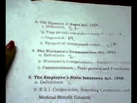 B.A.LL.B syllabus of University of Calcutta Paper 4 Labour and Industrial Laws