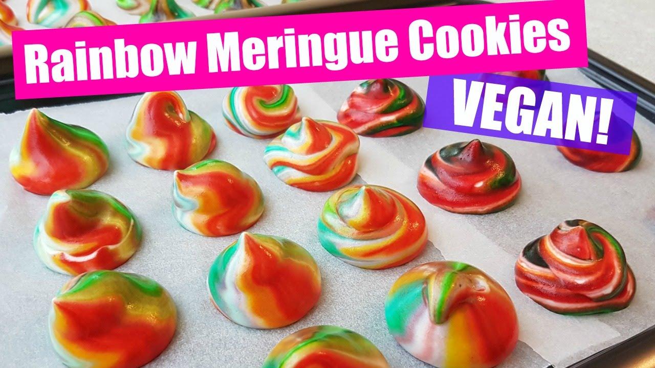 EGG-FREE Rainbow Meringue Vegan Cookies Recipe! - YouTube