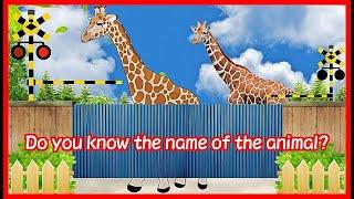 【Animal's name 電車 踏切②】★動物の名前 わかるかな? 英語 ぞうさん★ Fun railroad crossing animation for children