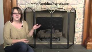 Black And Brass Four Fold Fireplace Screen