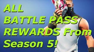 TOUS LES BATTLE PASS REWARDS! Fortnite Battle Royale - France Saison 5