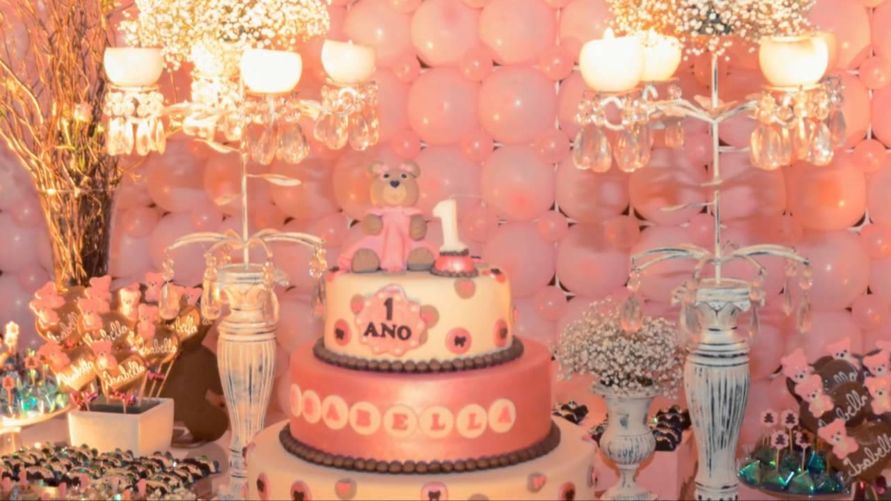 Decoraç u00e3o Infantil Clássica Flores e Ursos Isabella YouTube -> Decoração De Flores Festa