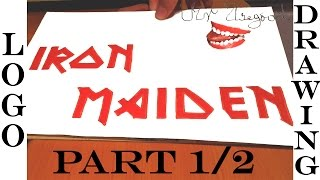 How to Draw IRON MAIDEN Logo Step by Step EASY and color, for Beginners on paper with Pencil | 1/2