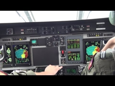 Pilots - Cockpit takeoff and landing at Madeira Airport CASA C-295M