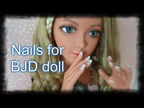 How to make permanent gel nails for BJD dolls + french manicure.