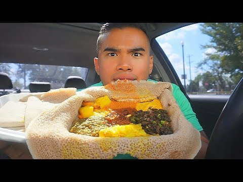 My first time trying AUTHENTIC ETHIOPIAN FOOD | MUKBANG | QT
