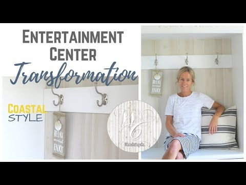 Entertainment Center Transformation, Entryway Bench Creation