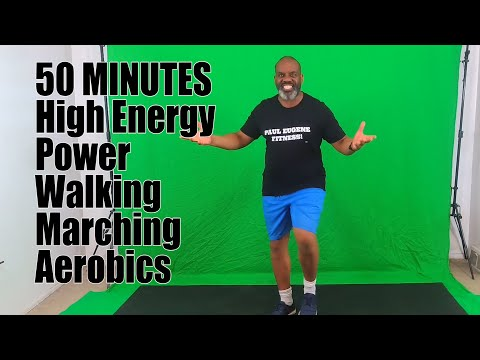50 Minutes High Energy Fat Burning Aerobics Power Marching Walking Exercise Fitness Workout!