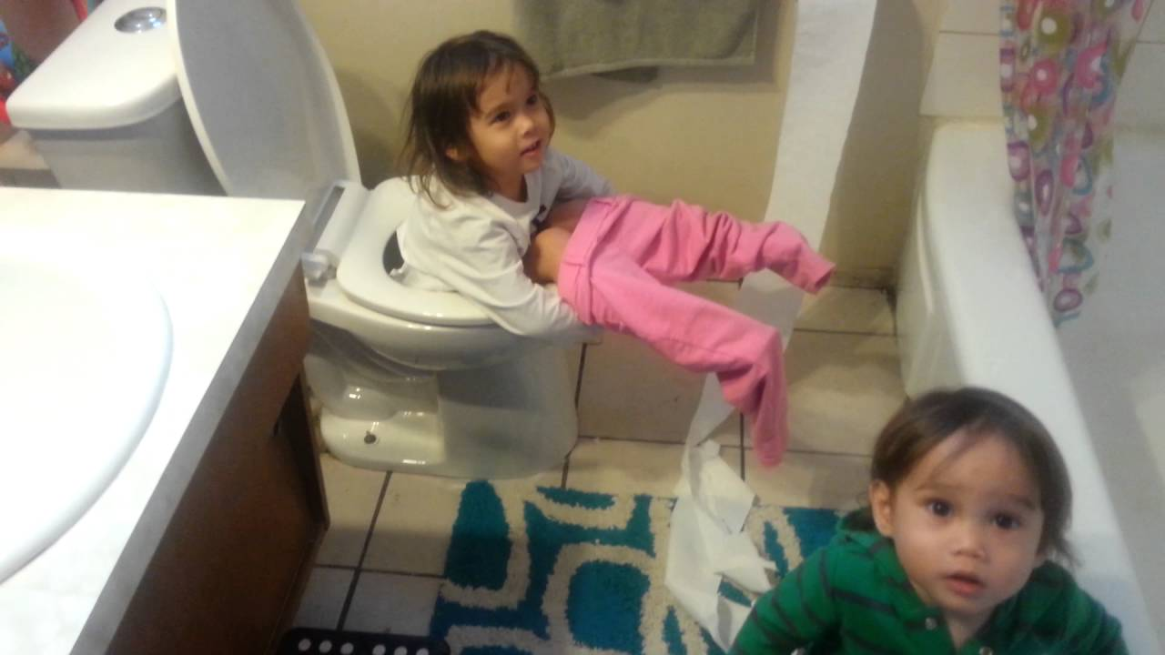 Girl Falls In Toilet While Baby Brother Makes A Mess With