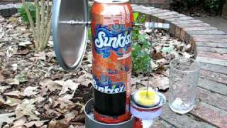 Pop can Stirling engine, 0-900 rpm in 3 seconds!