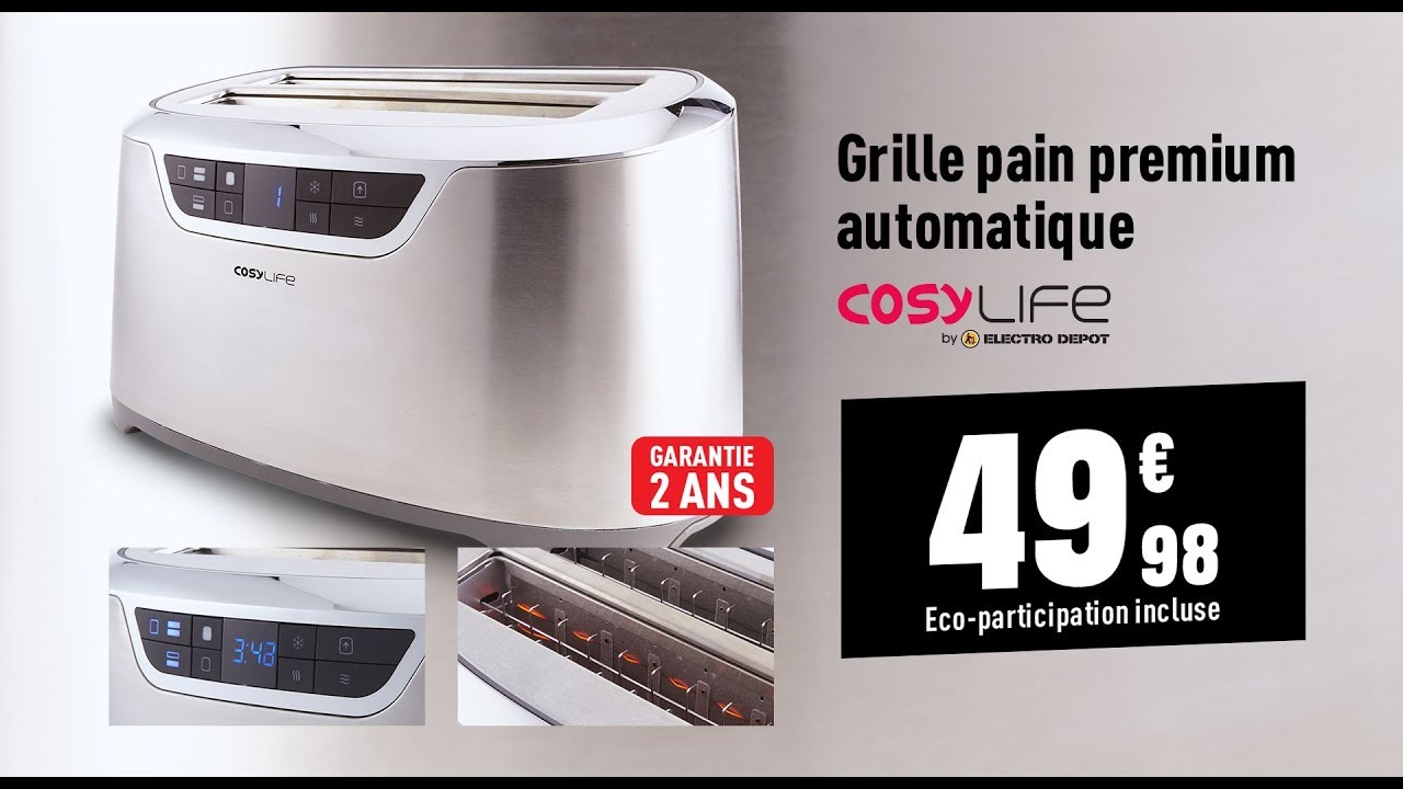 Grille pain premium automatique cosylife youtube - Grille pain electro depot ...