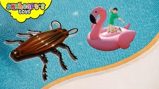 Giant SWAN in the pool vs. Giant Cockroach!