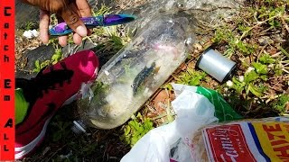 PLASTIC BOTTLE FISH TRAP! HILARIOUS Dollar store fishing challenge