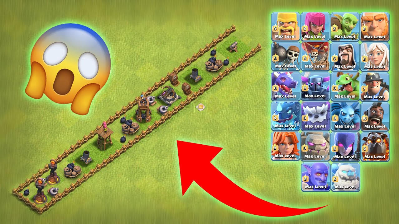 Single Lane Level-1 Defence Base vs All Max Troops   Clash of Clans   *Epic Attack*   NoLimits