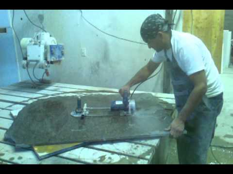 How to cut a round granite table