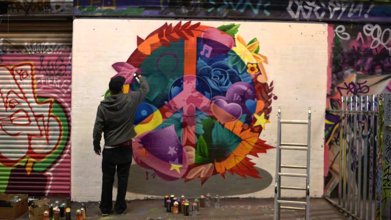 Graffiti art information - Make Love Not War Peace On The Streets With Graffiti Artist Smug Lynx Peace Youtube