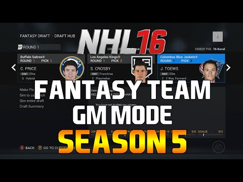 NHL 16: Fantasy Team GM Mode – SEASON 5