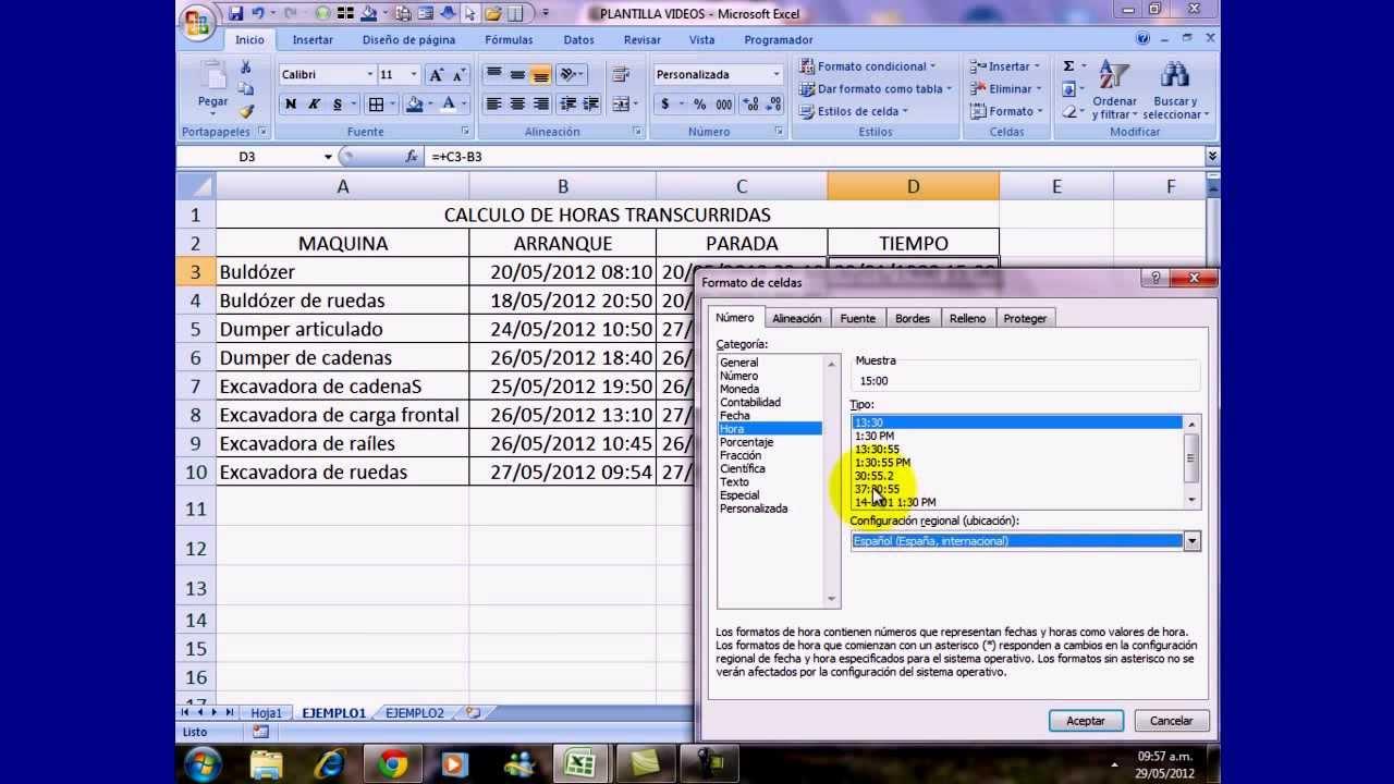 EXCEL 2007-2010 OPERACIONES CON HORAS. CALCULO TIEMPO TRANSCURRIDO ...