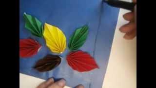 Аппликация Осенний листопад(http://ostrovdetok.ru/app1.shtml видео урок как сделать аппликацию из бумаги