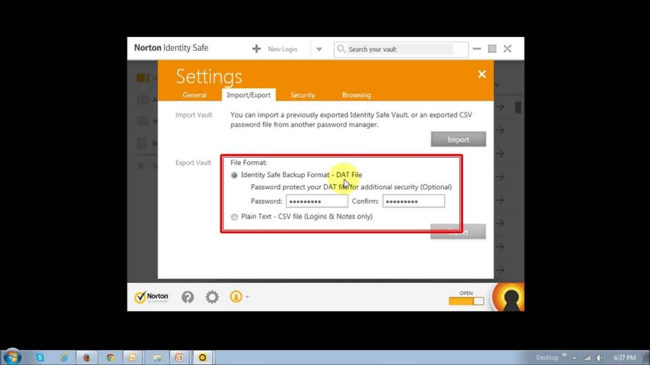 How to Backup Norton 360 Passwords