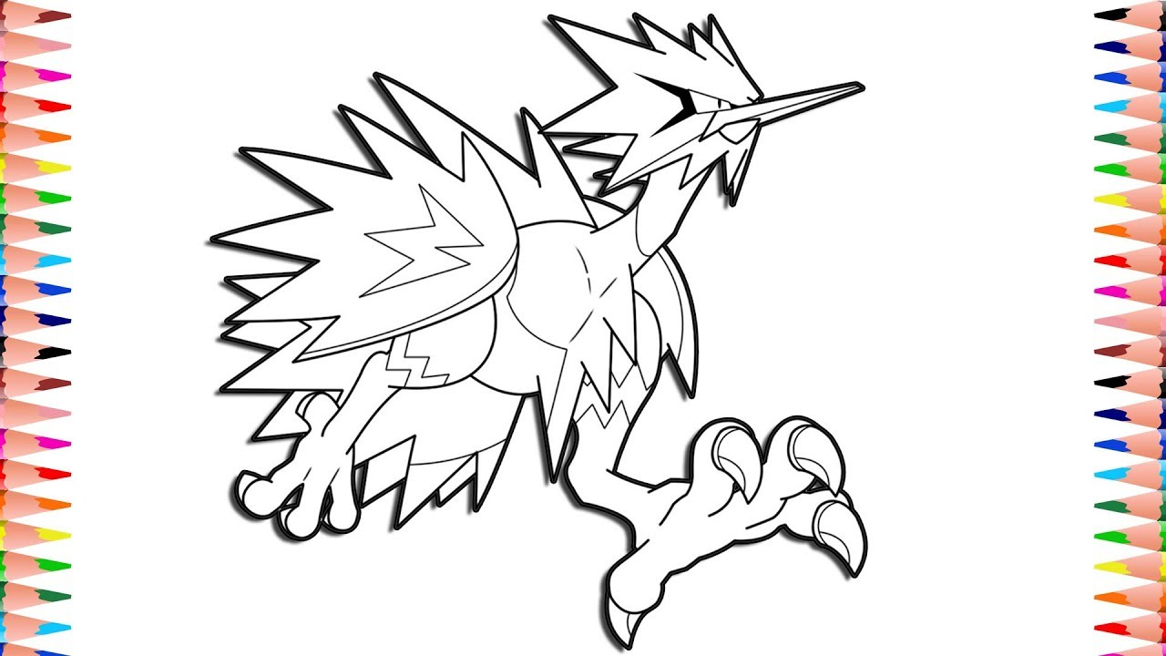 Legendary Galarian Zapdos Digital Coloring Pokemon Sword And Shield Coloring Pages Youtube