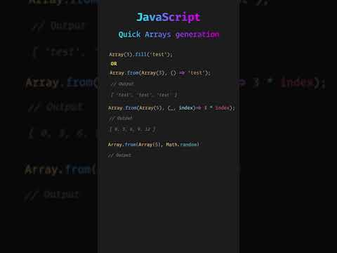 JavaScript Pro Tips: Array Generation in one minute #Shorts