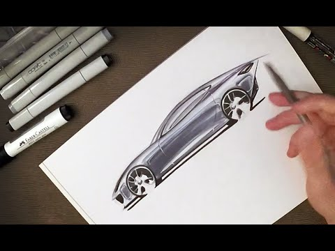 Industrial Design - How to Sketch Car Reflections with Copic Markers