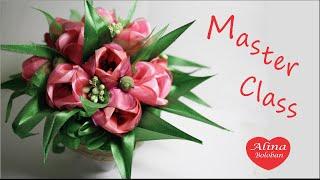 Тюльпаны из Лент Подарочный Горшочек с Цветами / Satin ribbon flowers. DIY