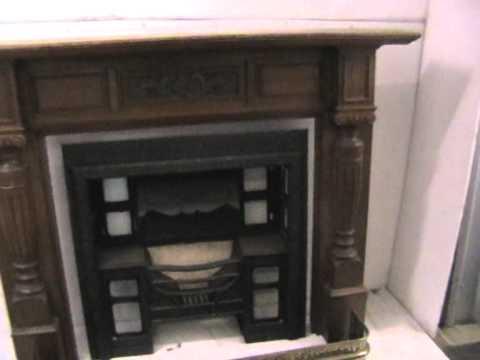 Oak Fireplace, Cast Iron Insert and Brass Fender Abacus St Julian