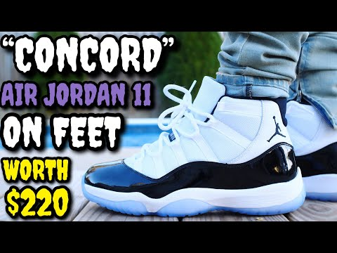 """CONCORD"" AIR JORDAN 11 ON FEET REVIEW! WORTH $220?"