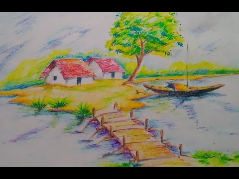How To Draw A Beautiful Scenery For Kids Easy Drawing Tutorial
