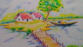 scenery drawing draw easy drawings tutorial paintings oil pastel scen paintingvalley