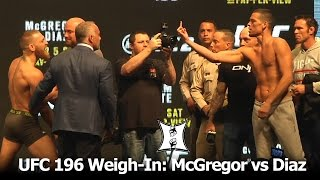 UFC 196: Conor McGregor + Nate Diaz Weigh-In And Stare Each Other Down. It's On!